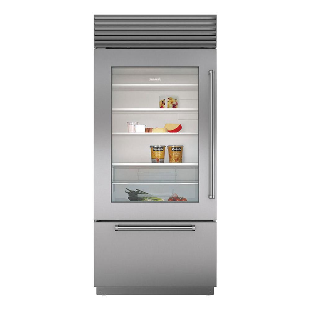 """Sub Zero Glass Door Refrigerator sub-zero 36"""" bi-36ug/s built-in stainless steel glass door refrigerator"""